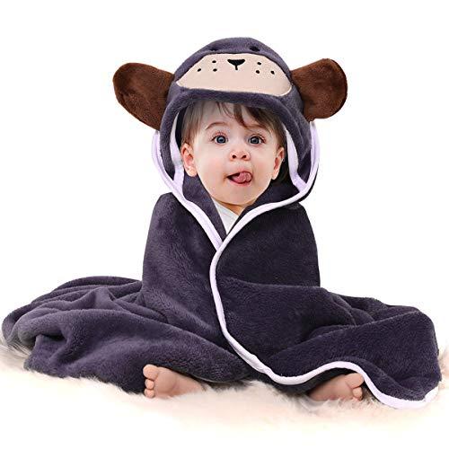 """Baby mit Kapuze Handtuch Flanell Waschlappen Baddecke, Premium saugfähigen weichen Kleinkind niedlichen Tier Kapuzen Badetuch Baby Dusche Geschenk / 31\""""X 31\""""(Grey)"""