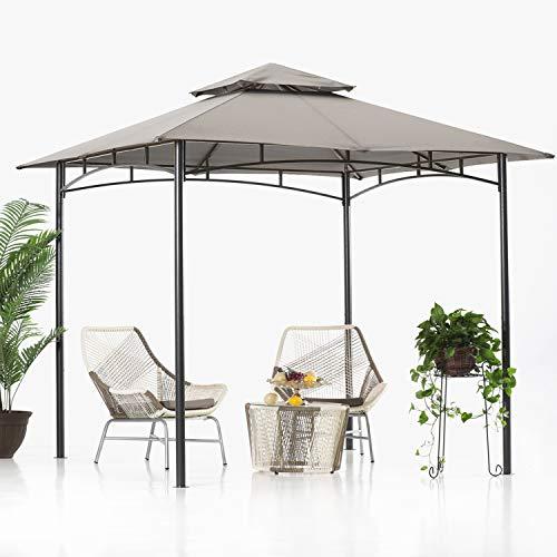 ABCCANOPY 2.5x2.5m Patio Pavillon für Patios Doppeldachweichdach Garten Hinterhof-Pavillon für Schatten und Regen,Grau