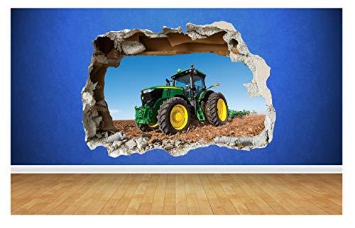 Thorpe Signs Traktor Farm Boys Schlafzimmer Tiere Land zertrümmert Wall Decal 3D Art Aufkleber (Groß: 82 cm x 58 cm)