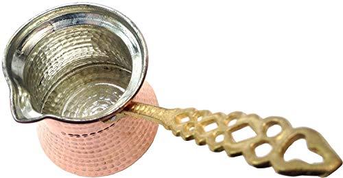 Turkish Handhammered Copper and Brass Coffee Cooking Pot Cezve Jazva İbrik Briki