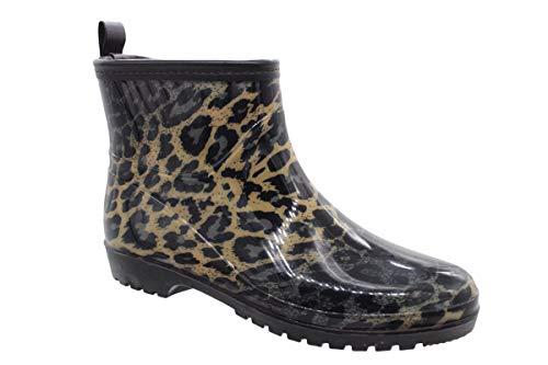 buyAzzo Damen Mädchen Gummistiefel | Freizeit Regenstiefel | Slipper Boots | Kurzschaft Gummistiefeletten | Komfort Blockabsatz Schuhe | Gr.36-41 (Leo, Numeric_37)