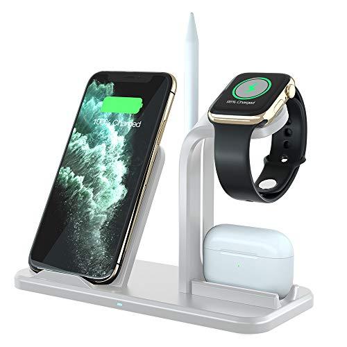 Ladestation Ständer für Apple Watch 6/SE/5/4/3/2/1,Schnelles kabelloses Induktives Ladegerät für AirPods,iWatch,iPhone 12/12 Pro/11 Pro/11/XS MAX/XR/X,Samsung Galaxy S20/S10/S9/S8/Note 10 und mehr