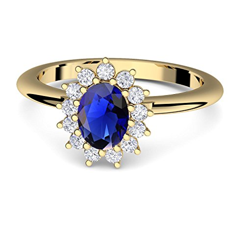 Verlobungsring blauer Stein Zirkonia von AMOONIC mit Zirkonia blau wie Saphir Gold (Silber 925 hochwertig vergoldet) wie Kate Middleton +LUXUSETUI Gold-Ring FF587VGGGSAFAZIFA52