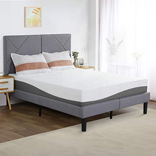 PrimaSleep 10 Inch Wave Gel Infused Memory Foam Mattress,Gray (Queen)