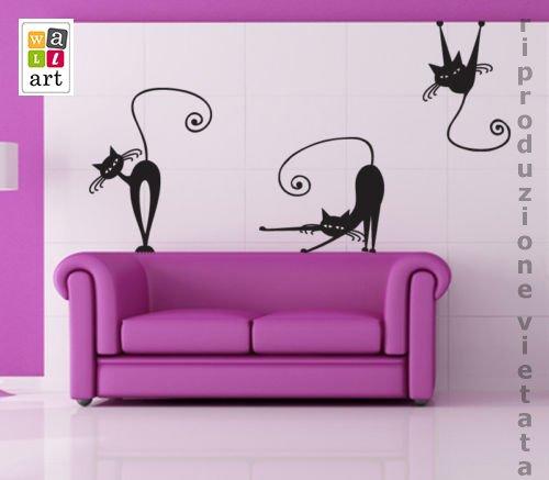 00223 Adesivi murali ''Gatti 2'' - Stickers Adesivi - 50x70 cm - Nero - Decorazione Parete, Adesivi per Muro, Carta da Parati