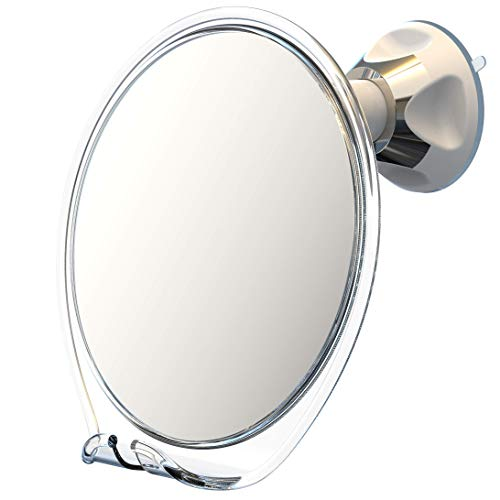 Luxo Shower Mirror, Shaving Mirror with a Razor Holder for Shower and Powerful Suction Cup - Shatterproof Anti Fog Mirror for Shower and Tweezers