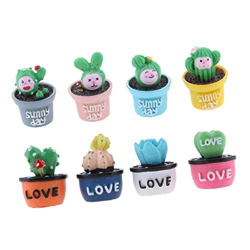 LOVIVER 8pcs Planta Suculenta Artificial Jardín Mini Cactus DIY Decoración del Partido del Escritorio del Hogar
