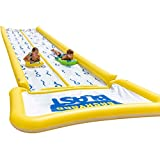 BACKYARD BLAST - 30' Waterslide with Bumpers and Splash Zone, 2 Inflatable Riders and Hand Air Pump - Easy to Setup - Extra Thick to Prevent Rips & Tears