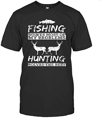 Desyaiw Luca POLETTO Funny Fishing Hunting Solves Problems,Black T-Shirt,XX-Large