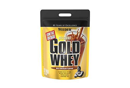 Weider Gold Whey Sabor Chocolate - 500 gr. Concentrado de Proteina de Suero de la más alta calidad. Fácil absorción y digestión. Baja en grasas y azúcares. Con un extra de BCAA.
