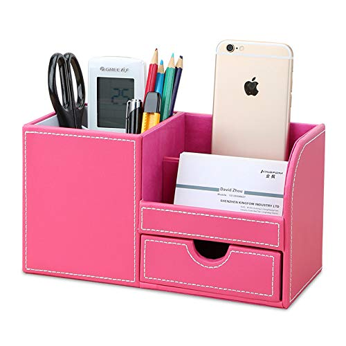 KINGFOM Multifunctional Desk Organizer Pencil Holder 3 Compartments with Drawer Cell Phone Box Pink