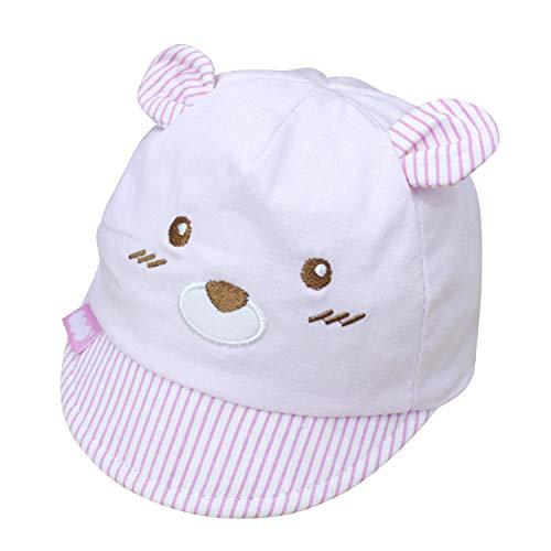 De feuilles Cartoon Baby Neugeborene Sonnenhut Junge Mädchen Baumwolle Sommer Hut UV Schutz Baseballmütze Baseball Cap Bär Form mit Ohren 0-3 Monate pink