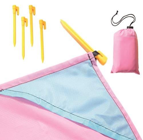Wasserdichte Picknickdecke, Stranddecke mit Tasche und Haken, 200 cm x 140 cm (rosa)