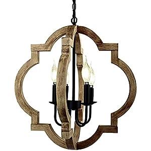 KARUDA Farmhouse Chandelier Light Fixture, 4-Light Rustic Wood Pendant Light ,Adjustable Hanging Chain Vintage Orb Chandelier Hanging Light for Kitchen ,Dining Room, Foyer, Bedroom(Bulb Not Include)