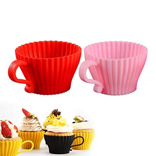 Antihaft-Backform Silikon-Kuchen-Tasse Muffin-Tasse Torten-Tasse Schokoladenkuchen-Pudding Ungiftige Hochtemperatur-Form-Fondant-Kuchen-Dekorationswerkzeuge-random color 5pcs-