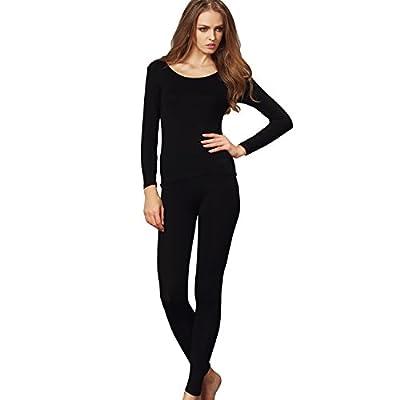 Liang Rou Women's Crewneck Long Johns Ultra Thin Modal Thermal Underwear Top & Bottom Set Black Large
