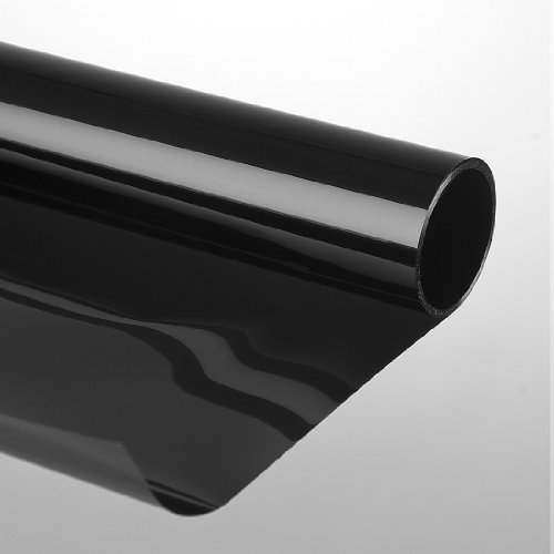 Zonwerende folie, zelfklevend, raamfolie, beschermfolie, getinte folie, zonwering voor ramen, 75 x 300 cm, donkerzwart/zwart