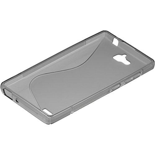 PhoneNatic Case kompatibel mit Huawei Honor 3C - grau Silikon Hülle S-Style + 2 Schutzfolien - 4