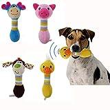 shenlanyu Juguete de Peluche 4 Unids/Set Pet Dog Chew Toys Pet Plush Dog Toys Cute Animals Will Dog Cat Puppy Toy Toot Dog Duck Chew Squeak