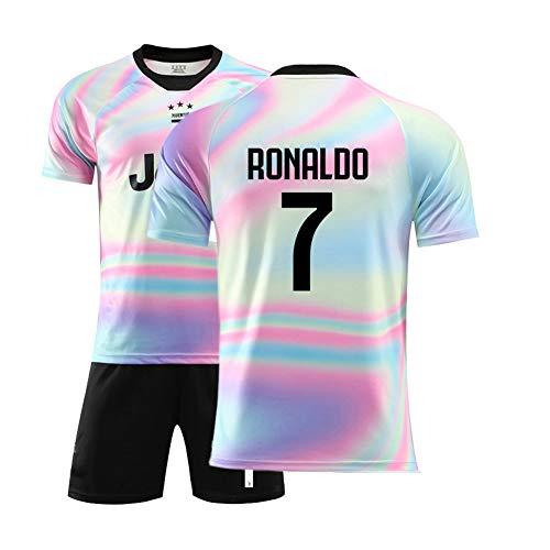 Kinder Fußball T-Shirt, Fußball-Trikot für Erwachsene, Ronaldo 7#, DYBALA10#, Trainingslager-Westenset-7#-S