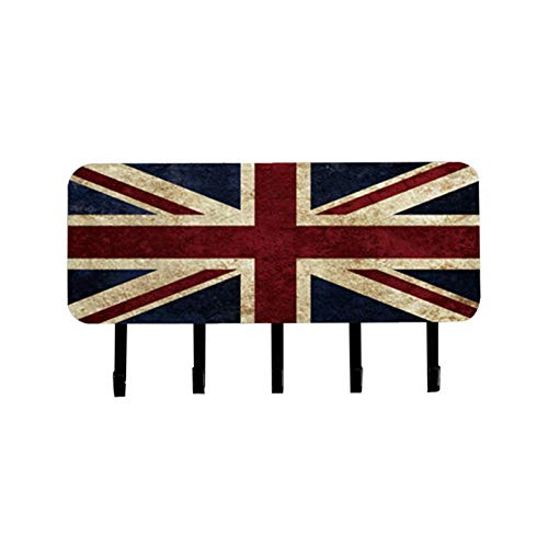 Wall Mount Letter Rack Organizer W5 Key HolderRetro Style Wall Mounted Coat Rack With Hooks-Stainless Steel With Hanging Key Rack Holder For Organizing Keys Mail And Other Objects1pcs-British Flag