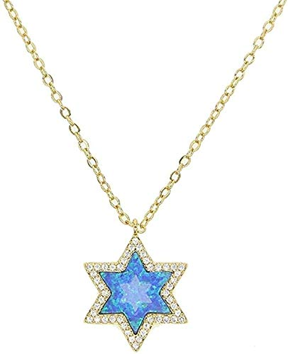 Yiffshunl Necklace Pendant Star Necklace Women Opal Stones Necklaces 41 + 5Cm Chain Necklace Gift