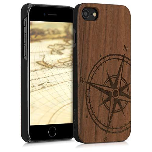 kwmobile Hülle kompatibel mit Apple iPhone 7/8 / SE (2020) - Handy Schutzhülle aus Holz - Cover Case Handyhülle Kompass Vintage Dunkelbraun