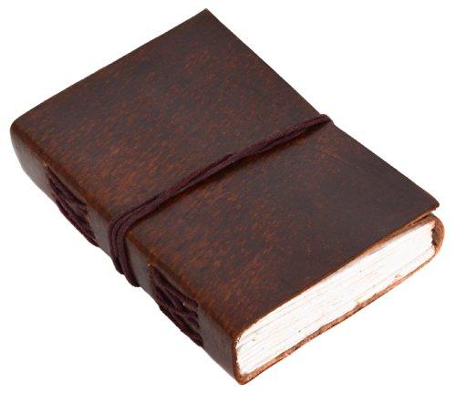 Gusti Notizbuch Leder - Ebony Notizheft Buch Tagebuch DIN B7 Braun Leder