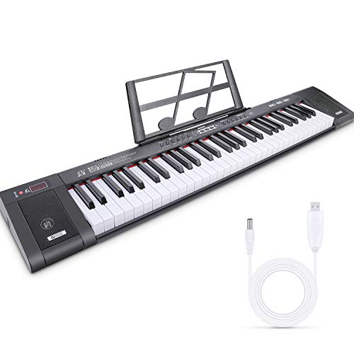 Tencoz 61-Key Electric Keyboard Piano with Full-Size, Built-in Speakers, Dual Power Supply, Music Stand, Portable Keyboard Music Digital Piano for Beginners Kids Adult