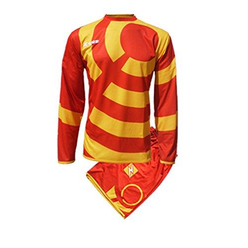 Zeus Herren Kinder Set Trikot Shirt Hosen Klein Armel Kit Fußball Hallenfußball KIT Ring ROT GELB (XL)
