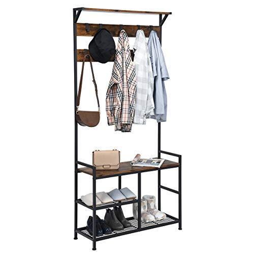 Tangkula Coat Rack Shoe Bench, 3-in-1 Industrial Hall Tree w/Storage Bench & 9 Hanging Hooks, 3-Tier Wood Look Entryway Bench w/Metal Frame, Adjustable Foot Pads for Dorm, Apartment, Hall, Brown