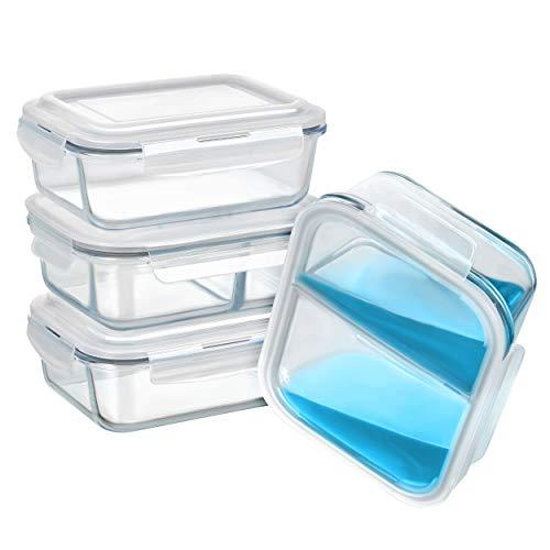Longvision Glas Frischhaltedosen Set 8 teilig / 1050ml / Auslaufsicher/Luftdicht/geeignet für Mikrowelle, Backofen und Gefrierschrank
