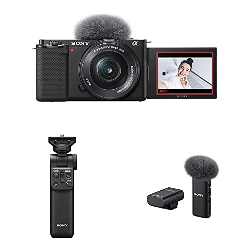 Sony Alpha ZV-E10L Camara vlog + Sony ECM-W2BT - MICR ofono inalambrico con conectividad Bluetooth + Sony GP-VPT2BT- Estabilizador para camaras