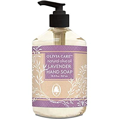 Liquid Hand Soap By Olivia Care - Lavender & Olive Oil. All Natural - Cleansing, Germ-Fighting, Moisturizing Hand Wash for Kitchen & Bathroom - Gentle, Mild & Natural Scented - 18.5 OZ