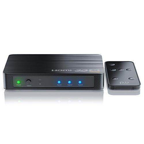 CSL - HDMI 2.0 Verteiler 4k 60Hz - 3 Port Switch Umschalter inkl. Fernbedienung -Ultra HD 4096x2160 3840x2160 - HDR - 3D Ready - 48 Bit Deep Color - automatische Umschaltung - Dolby TrueHD