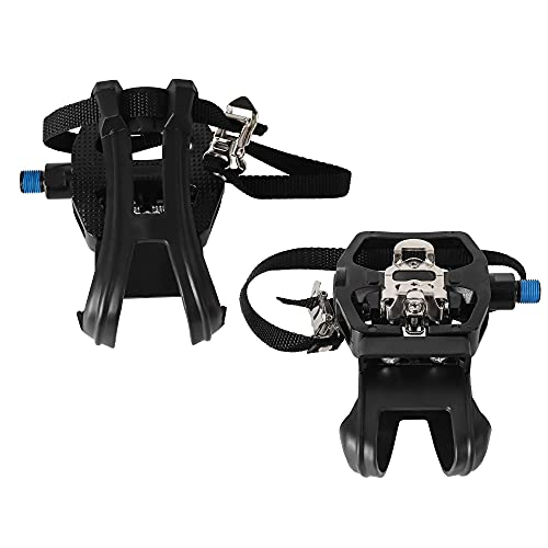 INPUSLIN SPD Pedals 9/16'' Spin Bike Pedals Hybrid Pedal with Toe Clips and Straps Suitable for Spin Bike, Exercise Bikes and All Indoor Bike/Peloton Pedals/Toe Cages for Peloton Bike