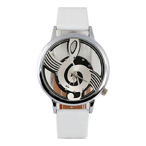 Malloom orologi cuoio notazione musicale nota quarzo (bianco)