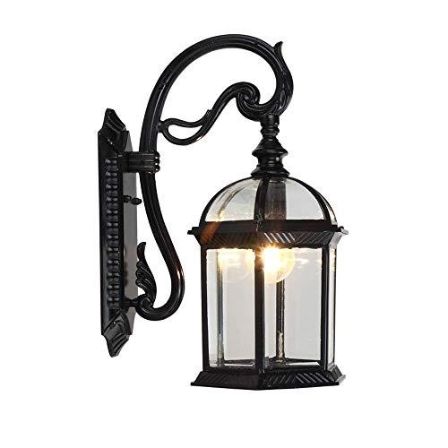ZSMLB Lámparas de Pared para Exteriores Lámpara de Pared de Cuello de Cisne para Exteriores Tradicional Europea Linterna de Vidrio Transparente Lámpara de Pared de Aluminio Retro Impermeable Negra