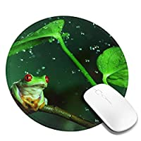 丸型マウスパッド ゲーミングマウスパッド 赤い目の蛙 おしゃれ オフィス自宅兼用 滑り止めゴム底 耐洗い表面 厚地 精密度アップ 光学式マウス対応 20*20cm 厚さ3mm