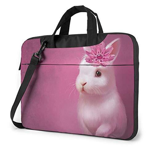 Bolso Bandolera para portátil de 15,6 Pulgadas, maletín con diseño de Conejos Rosados, Bolso Protector