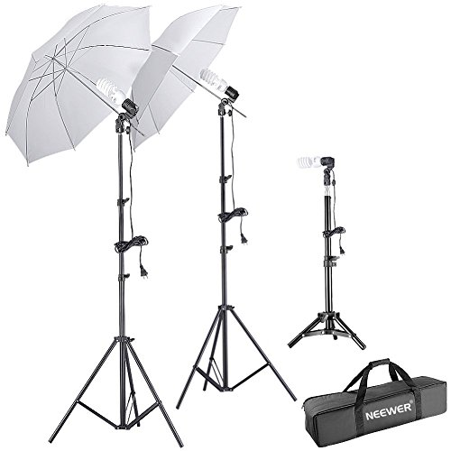 Neewer Studio Daylight Umbrella Light Kit, includes:(2)75'/1.9m Light Stands+(1)20'/50cm Light...
