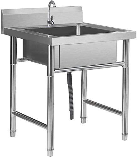 LLYU fregadero de pie de acero inoxidable multifuncional lavabo con lavabo de verduras de pie con juego simple de grifo caliente y frío (tamaño: 50 x 50 x 75)