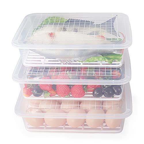 77L Lebensmittellagerbehälter, (3er-Pack) Kunststoff-Lebensmittelbehälter mit Abnehmbarer Ablaufplatte und Deckel, Stapelbar Tragbar, Gefrierschrank-Aufbewahrungsbehälter, Für Obst, Fleisch und Mehr