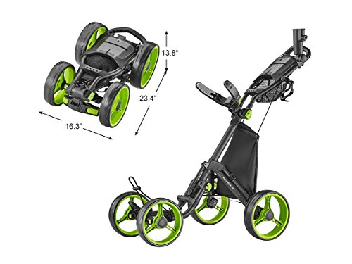 CaddyTek Explorer V8 - SuperLite 4 Wheel Golf Push Cart, Explorer Version 8, Lime