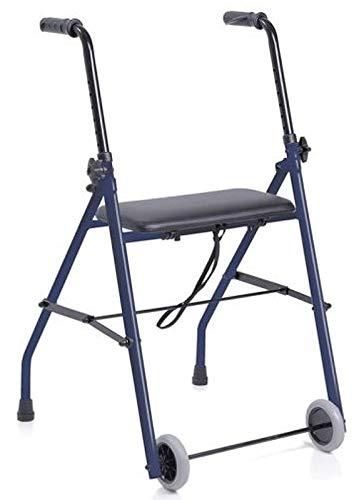Andador para ancianos, adultos, de acero, plegable con asiento y dos ruedas,