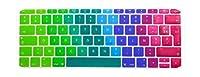 """英国EUフランス語AZERTYシリコンキーボードカバースキンfor MacBookNew Pro 13""""A1708(2016バージョン、タッチバーなし)12"""" A1534 Retina -Rainbow"""