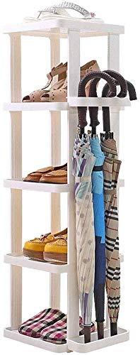 YLCJ 5 lagiges Mehrzweck Schuhregal aus Kunststoff, einfache Aufbewahrung, kleines Schuhregal, Schirmständer, Schuhschrank mit großem Fassungsvermögen, 19,5 x 34 x 100 cm