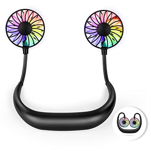 Hianjoo Ventilador Cuello, USB Recargable Mini Portátil Ventiladores de Sobremesa Luz LED Manos Libres Silencioso Ajustable para Home Office Deporte Viajar Acampar, Negro