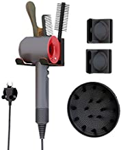 Hair Dryer Holder for Dyson Supersonic Hair Dryer Attachments Wall Mounted Stand Magnetic Rack Fit 1 Diffuser, 2 Nozzles, ...