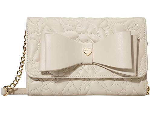Betsey Johnson Wallet on A String Crossbody with Bow Sand One Size